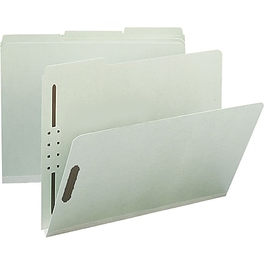 Staples® Pressboard Fastener Folders, Legal Size, 3 Tab, Gray/Green, 25/Box
