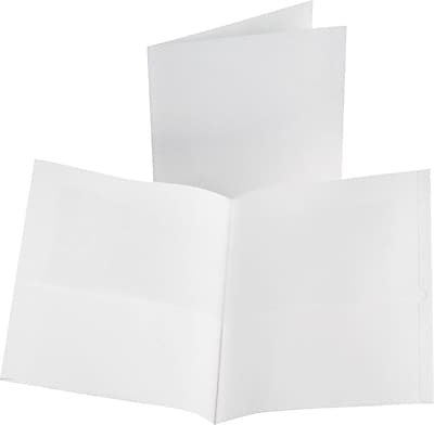 Oxford Linen 2-Pocket Folders, White, 25/Box