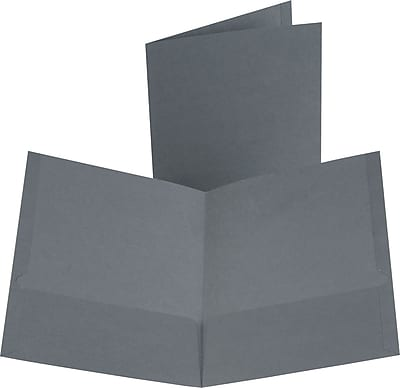 Oxford Linen 2-Pocket Folders, Dark Gray, 25/Box