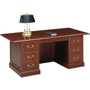 "HON® 94000 Series, 72"" Double Pedestal Desk, Mahogany"