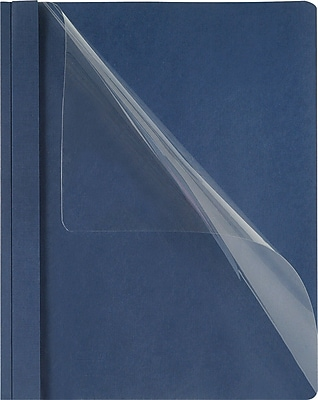 Oxford® Clear-Front Linen-Like Report Covers, Dark Blue