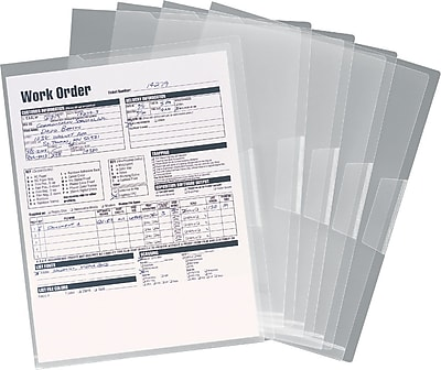 Staples® Poly Project Jackets, Letter, Clear, 5/Pack