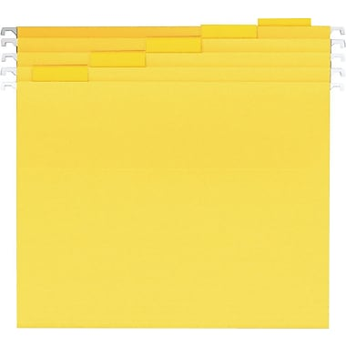 Staples® Colored Reinforced Hanging File Folders, 5-Tab Letter, Yellow, 25/Box (19910-US)