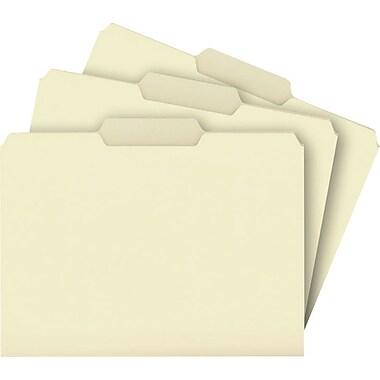 Staples® Top Tab Manila File Folders, 3 Tab, 100/Box