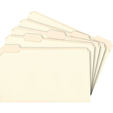 Staples® Manila File Folders, Legal, 5 Tab, Assorted Position, 100/Box
