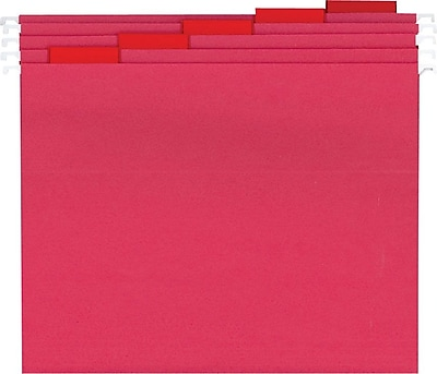 Staples® Colored Reinforced Hanging File Folders, 5-Tab, Letter, Red, 25/Box (19909-US)