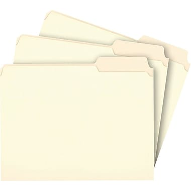 Staples File Folders, 3-Tab Right Position, Letter, Manila, 100/Box (116822)