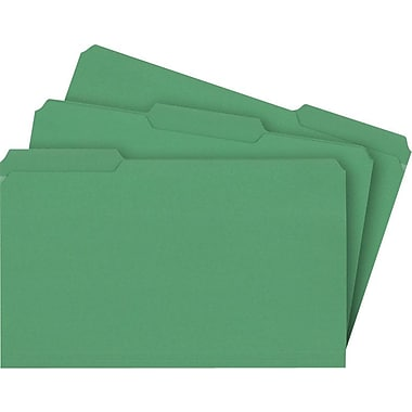 Staples® Colored File Folders w/ Reinforced Tabs, Legal, 3 Tab, Green, 100/Box