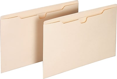 Staples® Manila File Jackets with Reinforced Tab, Legal, Flat, 100/Box