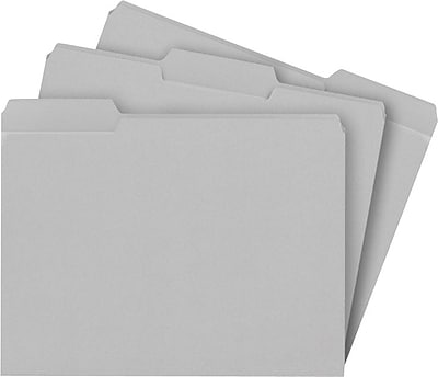 Staples® Colored File Folders w/ Reinforced Tabs, Letter Size, 3 Tab, Gray, 100/Box