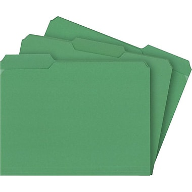 Staples® Colored File Folders w/ Reinforced Tabs, Letter, 3 Tab, Green, 100/Box