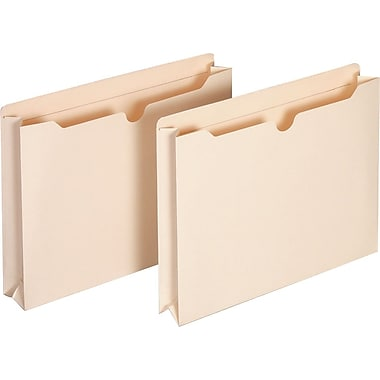 Staples® Manila File Jackets with Reinforced Tab, Letter, 2
