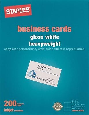 Staples Inkjet Business Cards 2 x 3 12 Glossy White 200