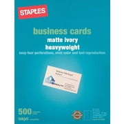 "Staples® Inkjet Business Cards, 2"" x 3 1/2"", Matte, Ivory, 500/Cards"