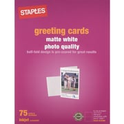 "Staples® Greeting Cards, 5 1/2"" x 8 1/2"", Matte White, 75 Cards & Envelopes/Pack (12494)"