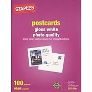 """Staples® Inkjet Postcards, 5 1/2"""" x 4 1/4"""", Gloss, 100/Pack"""