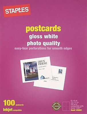 Staples® Inkjet Postcards, 5 1/2