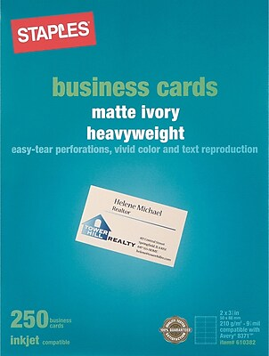Staples Inkjet Business Cards 2 x 3 12 Matte Ivory 250
