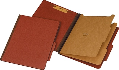 Staples® Recycled Classification Folders, 2/5-Cut Tab, 2 Partitions, Red, 20/Box (98764SB)