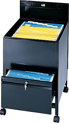 Safco® Locking Tub File With Drawer, Black, Legal