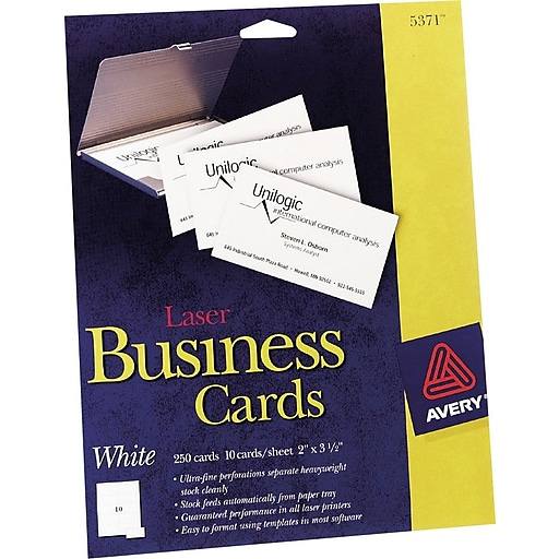 Avery Laser Business Cards White 2 X 3 12 250cards Staples