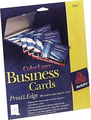 Avery PrinttotheEdge Color Laser Business Cards Staples