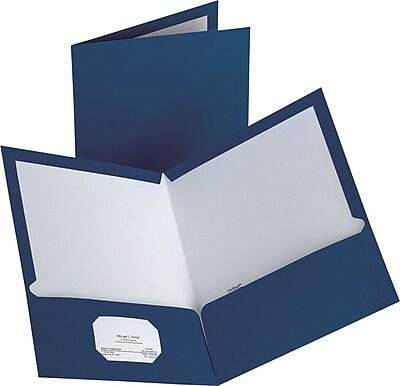 Staples® 2-Pocket Laminated Folders, Dark Blue, 10/Pack