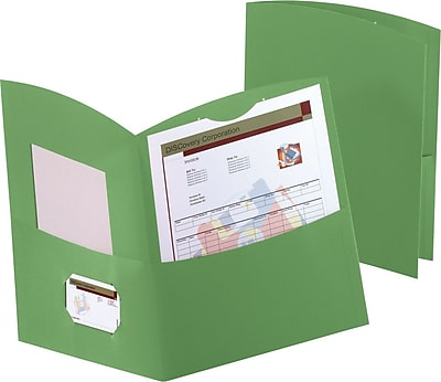 Oxford Contour 2-Pocket Folders, Green, 25/Box