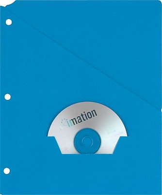 Oxford Recycled Slash Pocket Project Folders, 3-Hole Punched, Blue