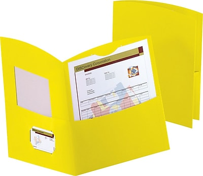 Oxford Contour 2-Pocket Folders, Yellow, 25/Box