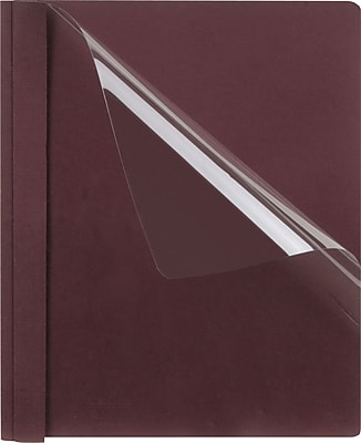Esselte Oxford® Clear Front Report Covers, Linen Finish, Burgundy