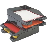 Deflecto® DocuTray, Multi-Directional, Self- Stacking Tray, Black