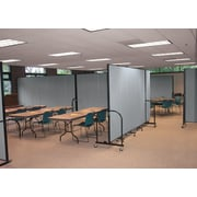 "Screenflex Portable Room Dividers, Gray, 6'H x 13' 1""L, 7 Panels"
