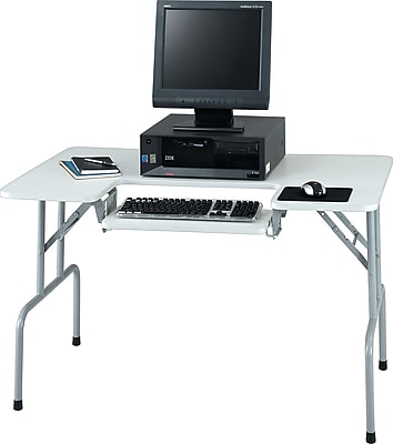 Safco® Folding Computer Table, Gray, 28 3/4