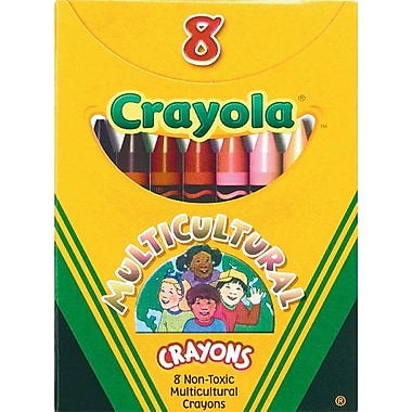 Crayola® 52008W Multicultural Crayon, Assorted, 8/Pack