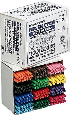Sanford Mr. Sketch® Scented Stix™ Marker School Pack, Fine Tip, Assorted Colors, 216/Pk