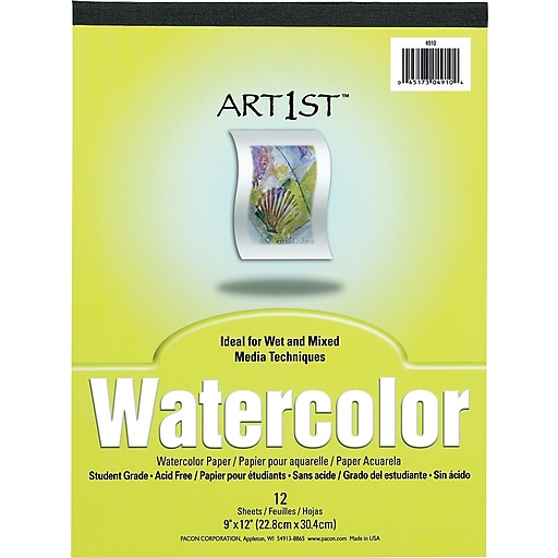 "Pacon Art1st Watercolor Paper Pad, 9""W x 12""H, 12 Sheets/PD"