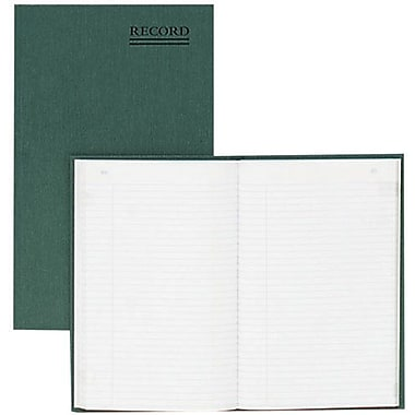 National Brand® Record Book with Margin, Hard Cover, Bound, Green, 200 Pages, 6 1/4