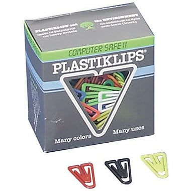 Baumgartens Large Plastiklips Paper Clips, Assorted Colors, 200/Bx
