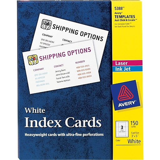 avery 3 x 5 laser and inkjet index cards 150 pack 5388 staples