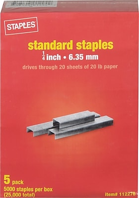 Staples Standard Staples, 1/4