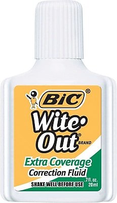 BIC® Wite-Out® Brand Extra Coverage Correction Fluid, White, 3/Pack