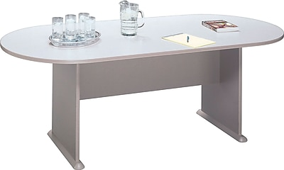 Bush Business Westfield 82W x 35D Racetrack Conference Table, Pewter/Graphite Gray