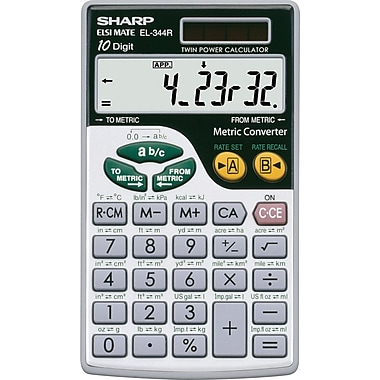 Sharp® – Calculatrice à conversions métriques EL344RB (format poche)