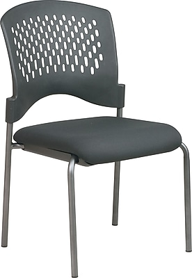 Office Star™ Stackable Titanium Finish Armless Visitor's Chair
