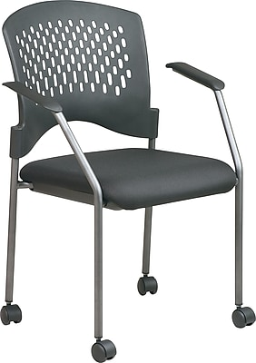 Office Star™ Stackable Titanium Finish Fabric Rolling Visitor's Chairs, Black, Each 8640-30