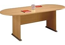 Bush Business Westfield 82W x 35D Racetrack Conference Table, Danish Oak/Graphite Gray