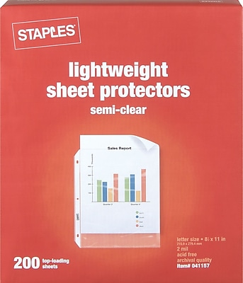 Staples® Economy Weight Sheet Protectors