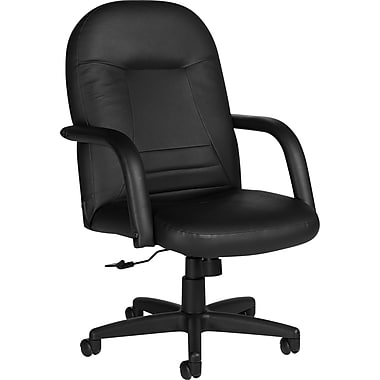 Staples® Mid-Back Leather Manager's Chair, Black