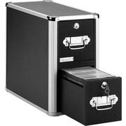 "Vaultz™ Locking 2-Drawer CD Cabinet, Black, 14 7/8""H x 8 1/4""W x 15 1/4""D, 60 CD Capacity"